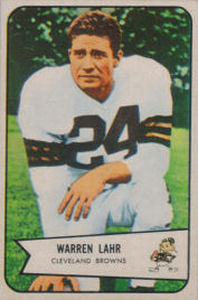 Warren Lahr Rookie 1954 Bowman #74 football card