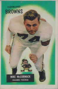 Mike McCormack Rookie 1955 Bowman #2 football card