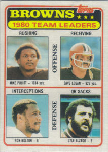 Browns Team Checklist 1981 Topps football card