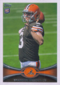 Brandon Weeden Rookie SP 2012 Topps #3B football card